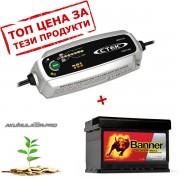Зарядно CTEK MXS 3.8 3.8A 12V с акумулатор BANNER 63Ah 600А R+