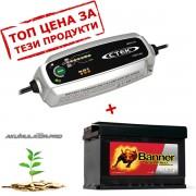 Зарядно CTEK MXS 3.8 3.8A 12V с акумулатор BANNER 77Ah 680A R+