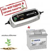 Зарядно CTEK MXS 3.8 3.8A 12V с акумулатор VARTA Sylver Dynamic 54Ah 530A 190mm R+