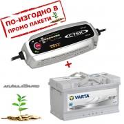 Зарядно CTEK MXS 5.0 5A 12V с акумулатор VARTA Sylver Dynamic 85Ah 800A 190mm R+